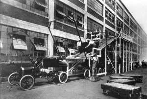 An Experimental Attempt by Ford to automate the process of adding the body to the frame.