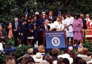 President Clinton signed legislation which raised the federal minimum wage to $5.15